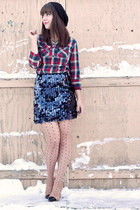 navy sequin Joe Fresh skirt - red plaid thrifted shirt - nude cap toe Zara pumps