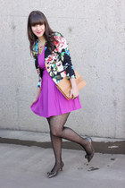 Forever 21 dress - kitten heels Zara shoes - floral print H&M blazer