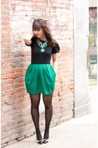 green bubble skirt Joe Fresh skirt - black ruffled sleeves Ralph Lauren shirt