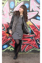 navy stripes Michael Kors dress - black faux leather Sirens jacket