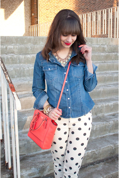 white polka dot Forever 21 jeans - blue denim Forever 21 shirt
