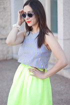 lime green neon pink tartan skirt - light blue stripes Zara top