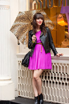 hot pink Forever 21 dress - black Aldo boots - black leather Zara jacket