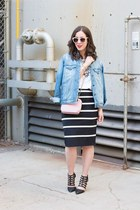black banana republic skirt - black shoes - sky blue denim oversized Zara jacket
