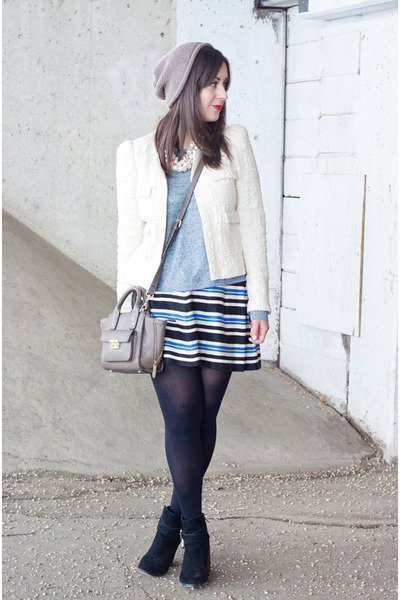 blue stripes Forever 21 skirt - light blue rag & bone sweater