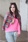 Light-blue-boyfriend-jeans-gap-jeans-hot-pink-neon-gap-sweater