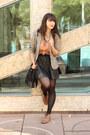 Beige-h-m-blazer-nude-h-m-top-black-faux-leather-h-m-skirt