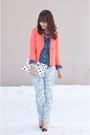 Light-blue-floral-print-joe-fresh-jeans-coral-coral-forever-21-blazer