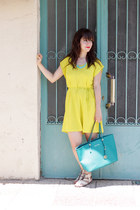 H&M dress - turquoise blue Michael Kors belt - white sam edelman sandals