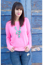 Hot-pink-neon-gap-sweater-aquamarine-ily-couture-necklace