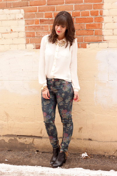 ivory Forever 21 blouse - navy floral print Zara jeans