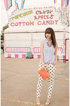 white polka dot Forever 21 jeans - coral JCrew bag