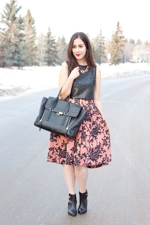 pink brocade H&M skirt - black shoemint boots