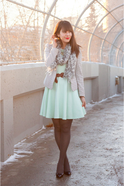 mint pastel H&M dress - white stripes H&M blazer
