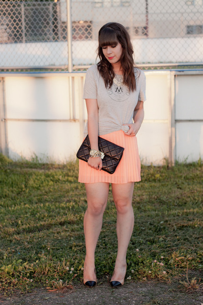 salmon neon Urban Outfitters skirt - black Michael Kors bag