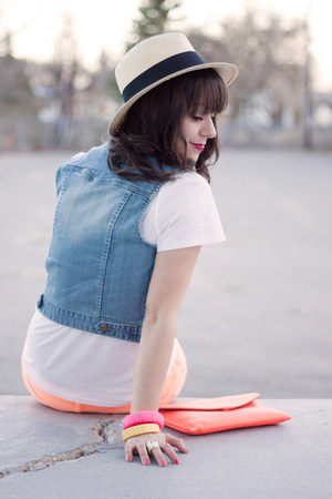 panama hat H&M hat - neon Joe Fresh jeans - JCrew bag