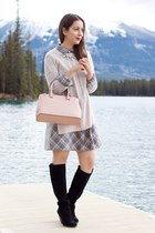 heather gray plaid DKNY dress - black suede Sole Society boots