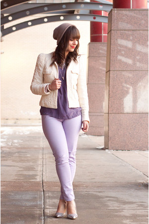 purple silk Forever 21 shirt - periwinkle Joe Fresh jeans