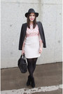 Pink-french-connection-dress-black-topshop-hat-black-tahari-blazer