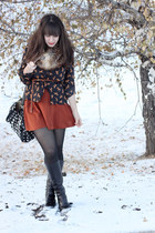 black Forever 21 blazer - beige Michael Kors scarf - burnt orange Zara skirt