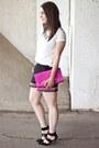 Hot-pink-lip-clutch-diane-von-furstenberg-bag-black-pom-poms-forever-21-shorts