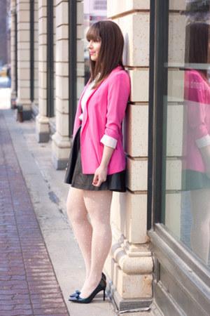 boyfriend Zara blazer - Club Monaco t-shirt - faux leather H&M skirt