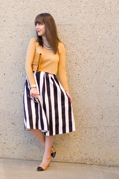white stripes asos skirt - nude vintage YSL bag - nude cap toe Zara pumps