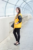mustard varsity jacket DKNY jacket - black DKNY leggings - black DKNY bag
