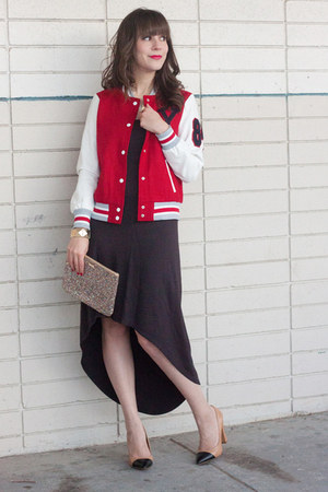 red varsity jacket Forever 21 jacket - black mullet Michael Kors dress