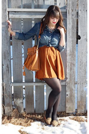 blue Forever 21 shirt - burnt orange H&amp;M dress - tan Forever 21 loafers