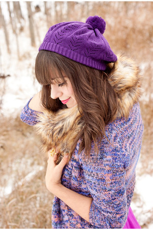 purple H&M hat - tan Forever 21 boots - amethyst Forever 21 dress