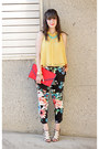 Black-h-m-pants-red-vintage-bag-mustard-forever-21-blouse