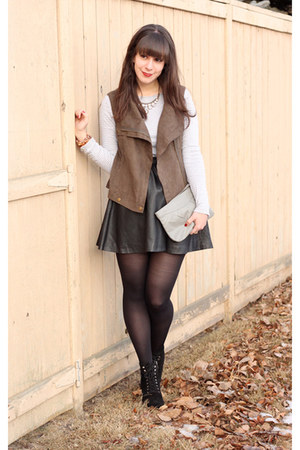 light brown Forever 21 vest - black Michael Kors boots - silver Gap shirt