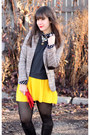 Black-michael-kors-boots-tan-h-m-blazer-dark-gray-american-apparel-top