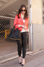 Red-leather-rebecca-minkoff-jacket-white-turtleneck-jcrew-sweater