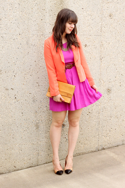 tan Zara pumps - fuchsia Forever 21 dress - coral Forever 21 blazer