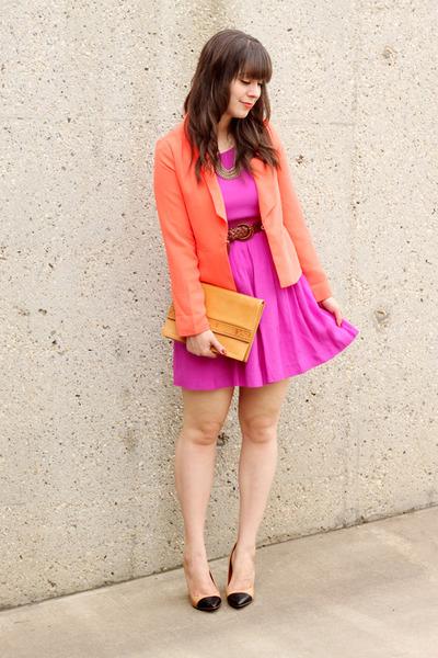 tan Zara pumps - fuchsia Forever 21 dress - coral Forever 21 blazer