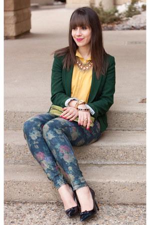 forest green Zara blazer - navy floral print Zara jeans