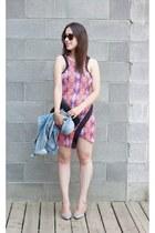 hot pink Millie Meno dress - sky blue denim H&M jacket