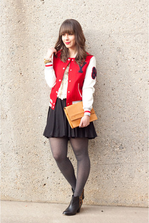 varsity jacket Forever 21 jacket - Aldo boots - vintage YSL bag