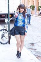 blue Forever 21 blouse - black Aldo boots - black H&M shorts