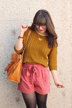 coral H&M shorts - mustard Forever 21 sweater - light orange Michael Kors bag