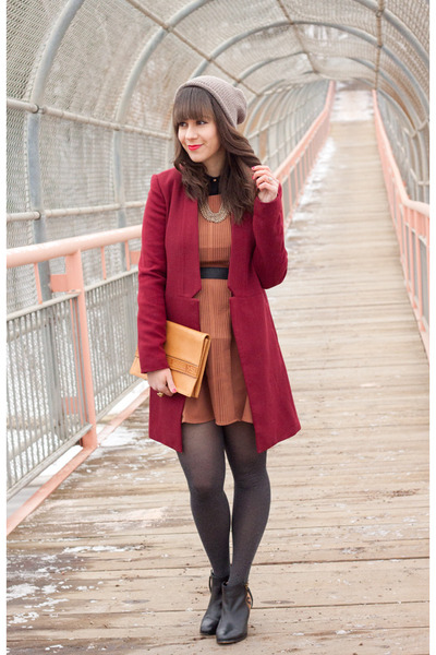 brick red oxblood Forever 21 coat - burnt orange Darling dress