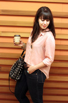 salmon H&M blouse - navy Gap jeans - black shop mamie bag