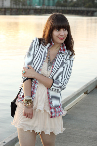 light pink H&amp;M dress - white striped H&amp;M blazer - red plaid boyfriend TNA shirt