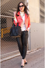Red-leather-rebecca-minkoff-jacket-white-turtleneck-jcrew-sweater