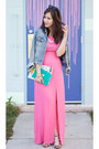 Hot-pink-maxi-luluscom-dress-sky-blue-denim-h-m-jacket