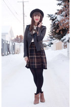 dark brown plaid Zara skirt - light brown ankle boots Forever 21 boots