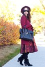 Black-suede-knee-high-sole-society-boots-brick-red-forever-21-coat