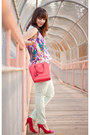 Mint-joe-fresh-jeans-coral-crossbody-coach-bag-red-shoe-mint-pumps
